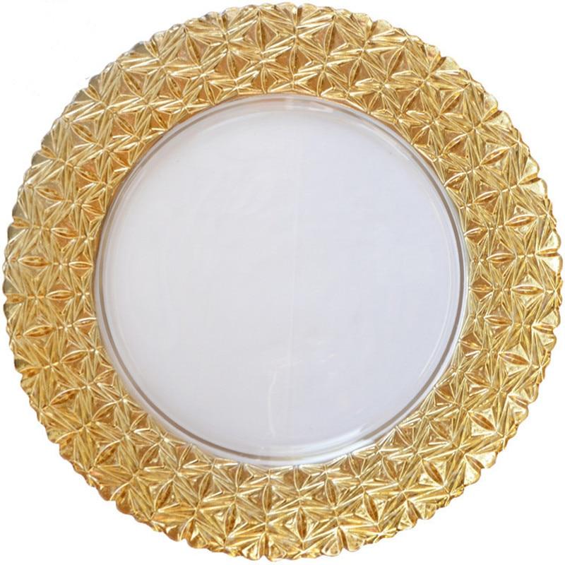 Light Luxury -Round Transparent Phnom Penh Plated Glass plate fruit dish Cake pan Western Cutlery tray  Wedding Decoration Plate