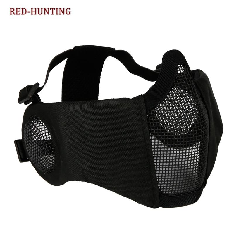 Taktik airsoft maskaları peyntbol CS qatlana bilən yarım üz aşağı karbonlu polad mesh hərbi üslubda rahat qulaq qoruyucu maska