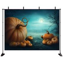 Acejoker Halloween Backdrop Big Pumkins in Smoky Jungle Moo at Night Photography Background Vinyl Photo Studio Props