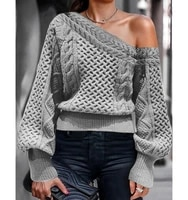 autumn and winter sexy slant off loose knit solid color lantern sleeve head sweater women