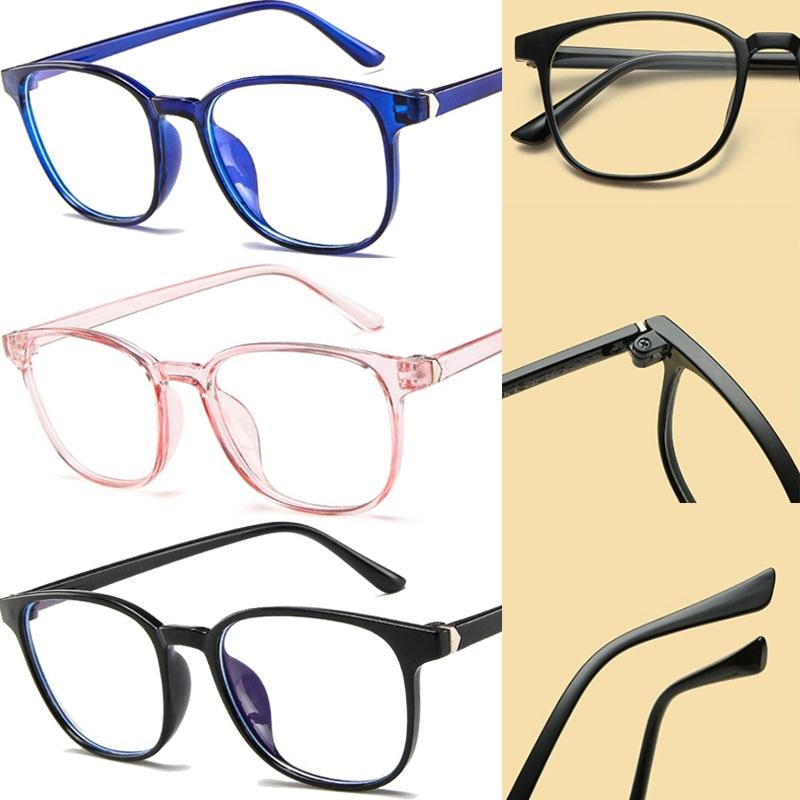 Retro Transparent Computer Eyeglasses Reading Glasses Frame Fashion Pink Plastic Frame Anti-blue Lig