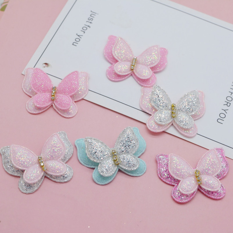 AliExpress - 12pcs/lot 4.3*3.7cm two layer glitter Butterfly padded Appliques for Craft Clothes Sewing Supplies DIY Hair Clip Accessories