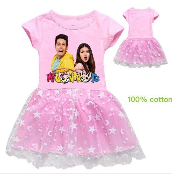 Me Contro Te-ropa para niños, vestido de verano 2020 para niñas, vestidos plisados de encaje de dibujos animados de tendencia exterior para niños, bonitos vestidos de princesa