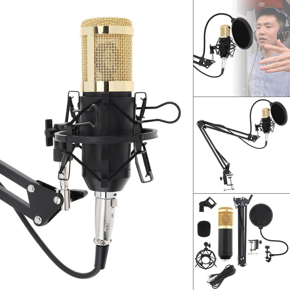 Micrófono colgante de condensador profesional BM 800 Karaoke con brazo de soporte y ajuste del filtro Pop para computadora/estudio con cable/en vivo