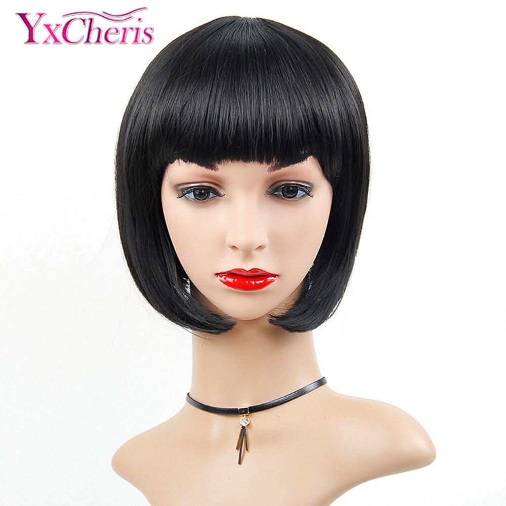 Pelucas sintéticas con flequillo, pelucas negras naturales de Bob para mujeres negras, peluca recta corta de fibra resistente al calor maisi