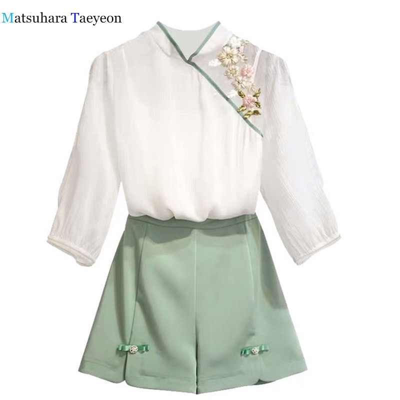 Hanfu Womens sets  Chinese embroidered elements summer Casual two piece set ancient style Modern improved version