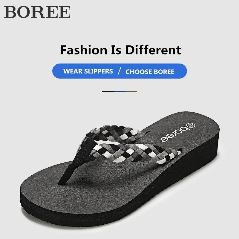 Boree 2020 Summer Ladies Fashion Flat Slippers Mixed Colors Non-slip Outdoor Women Shoes Beach Flip Flops New Design Slides