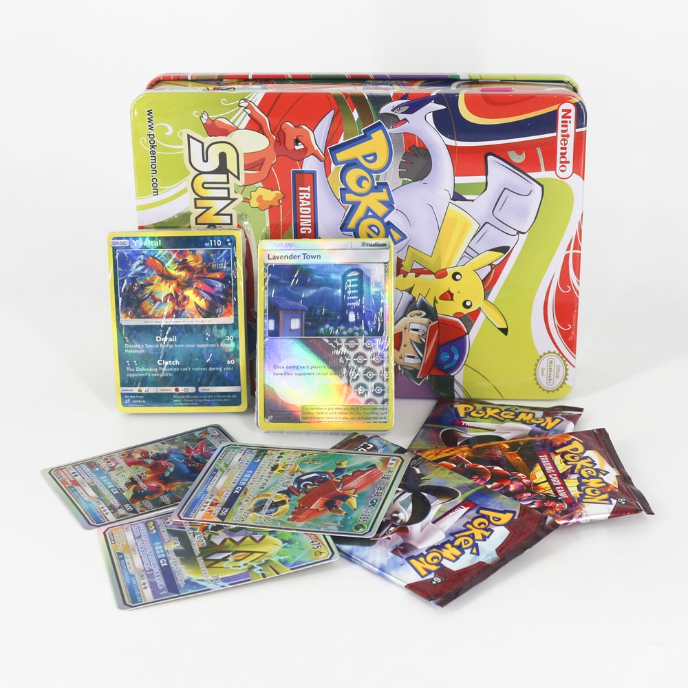 TAKARA TOMY TCG Desktop Trading Card Game Flash Cards Collections GX Evolutions Children Toys Metal Box Big Shining Card недорого
