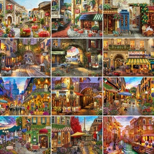 5D Diamond Painting Street Full Square&Round Diamond Embroidery Mosaic Landscape Home Decorations