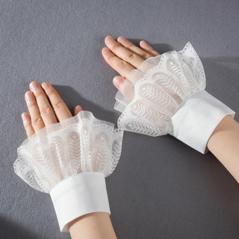 Women Fake Cuff Lace For Sweater Blouse Apparel Black Detachable Cuffs For Women Wrist Warmers Princess Sweater Decorative