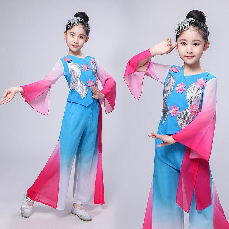 Детские Классические танцевальные костюмы Hanfu, фанатские танцевальные костюмы Янге, одежда для выступлений для девочек