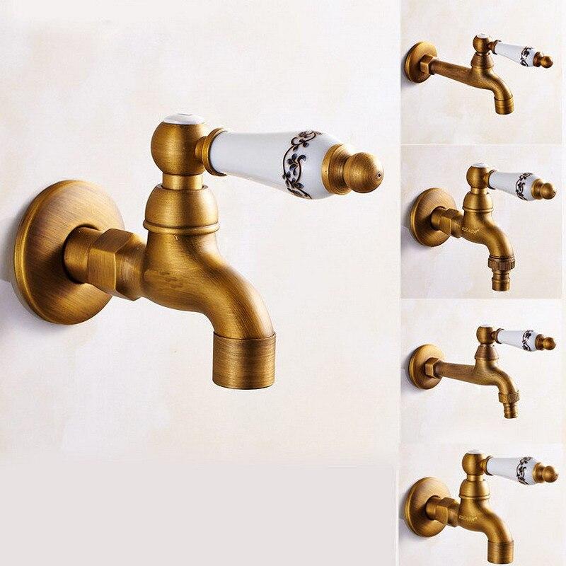 Antique Brass Basin Faucet Kitchen Faucet Garden taps Wall Mounted Lavatory Bathroom Mop Water Tap Washing Machine Faucet