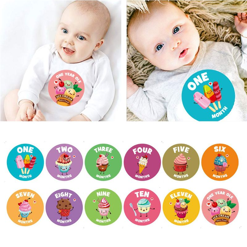 Baby Monthly Stickers,Baby First Year Month Age Growth Milestones Animal Stickers Unisex,1 to 12 Month недорого