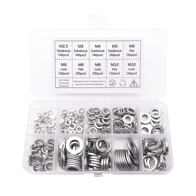 Hot Sale 260-Pcs (7-Size) Steel Flat Washer and Lock Washer Assortment Set - Size Included: M2.5 M3 M4 M5 M6 M8 M10