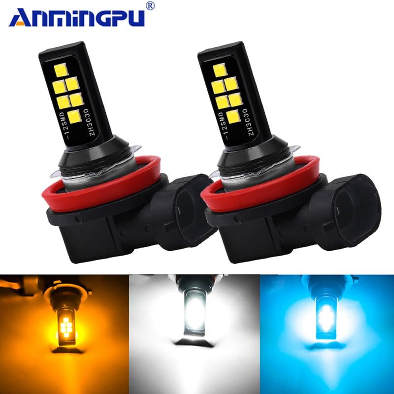 Anmingpu 2x Car Fog Lamp H11 Led Lamp H1 H3 Led H7 9005 HB3 9006 HB4 H9 H8 H27 880 881 Led Car Fog Light Bulb White Ice Blue 12V