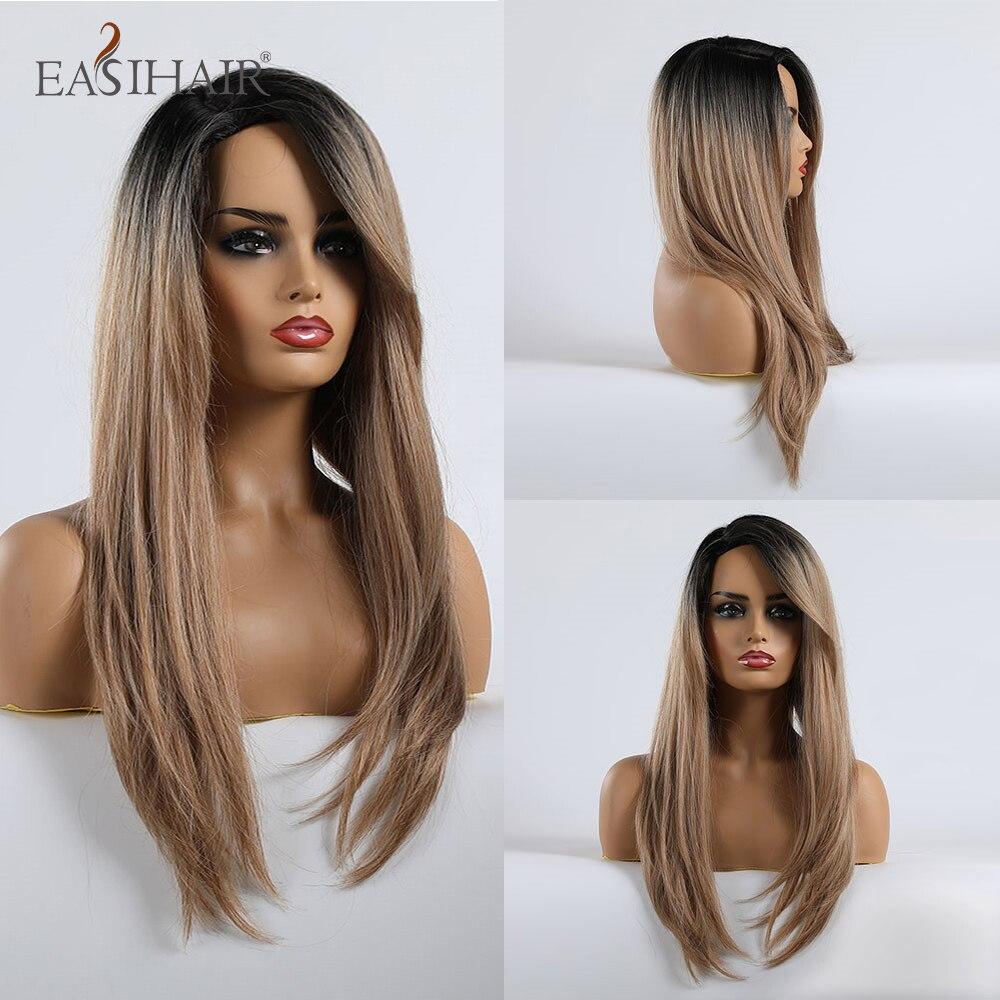 EASIHAIR, largo degradado, pelucas rectas negras y marrones con ondas, flequillo lateral, pelucas sintéticas para mujeres negras, pelucas de Cosplay sin pegamento