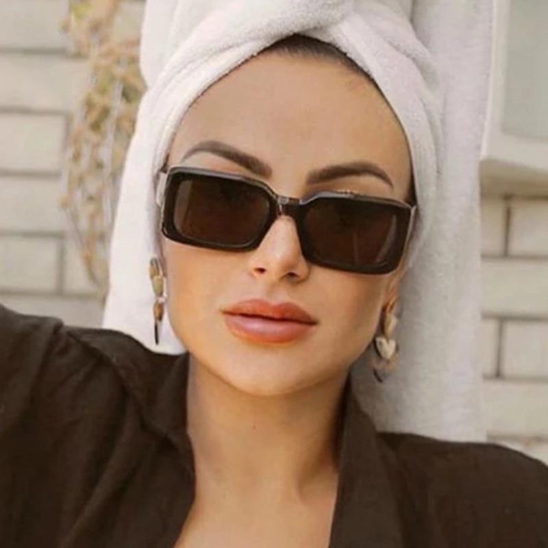 Retro PC Frame Rectangle Women's Sunglasses Vintage Bold Frame Decorative Sun Glasses UV400