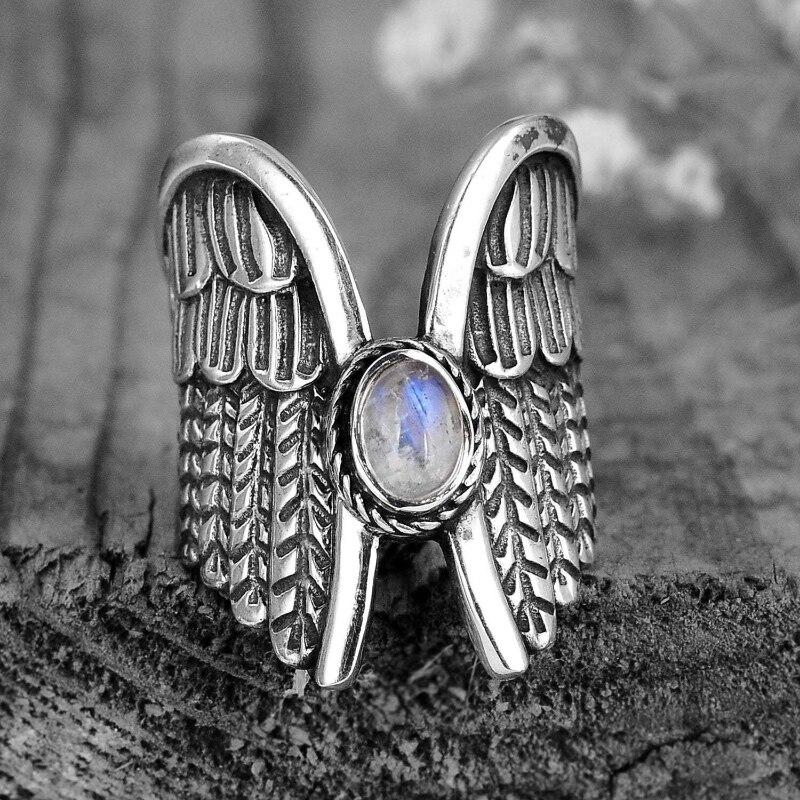 Anillos de alas de ángel para mujeres y hombres, joyería de anillos de piedra lunar de moda con personalidad Punk 9 2 5 colores