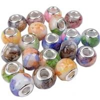 10 pcs wholesale lot bulk marble print large hole glass crystal beads fit pandora bracelet diy women men unique jewelry making