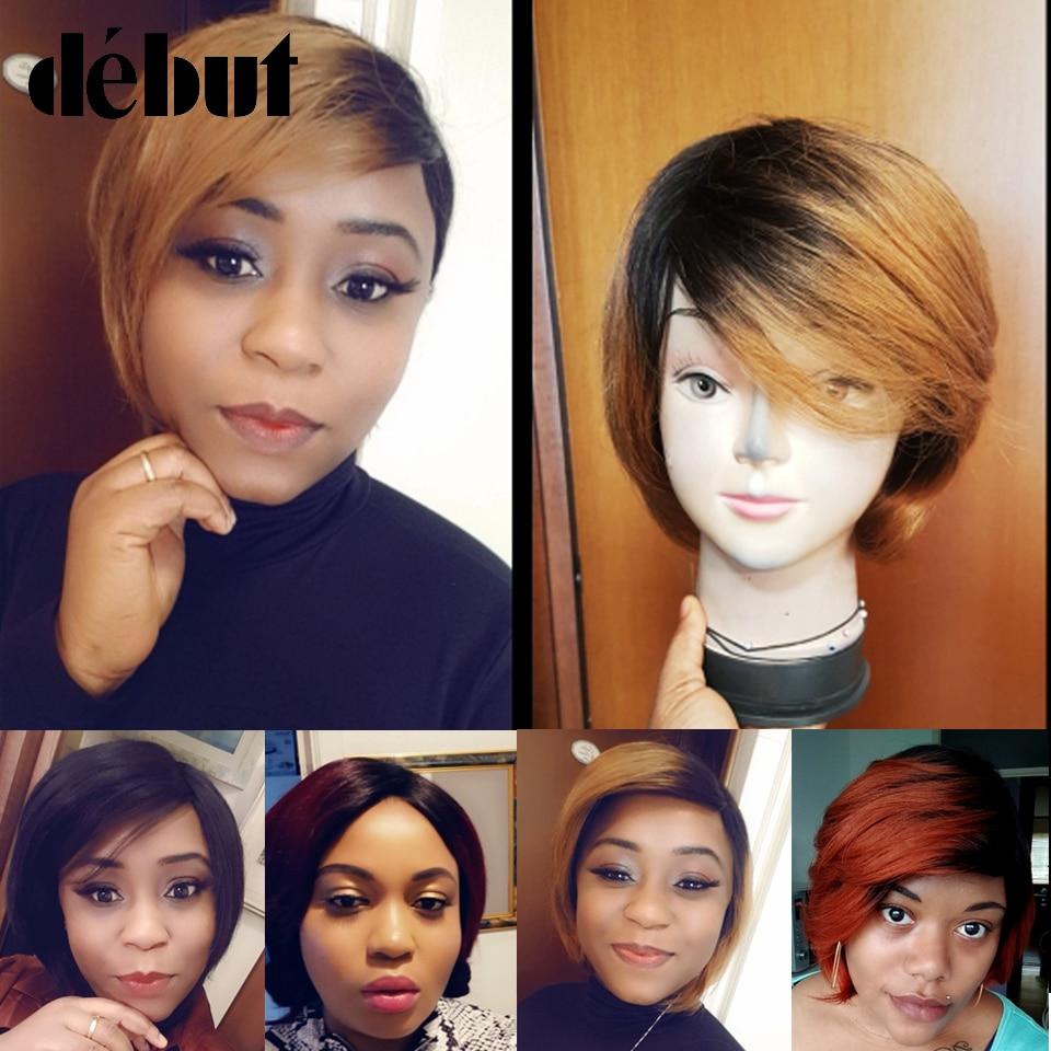 Дебютные парики из человеческих волос с эффектом омбре, Бразильские короткие парики, парики из человеческих волос TT2/27, недорогие искусстве...