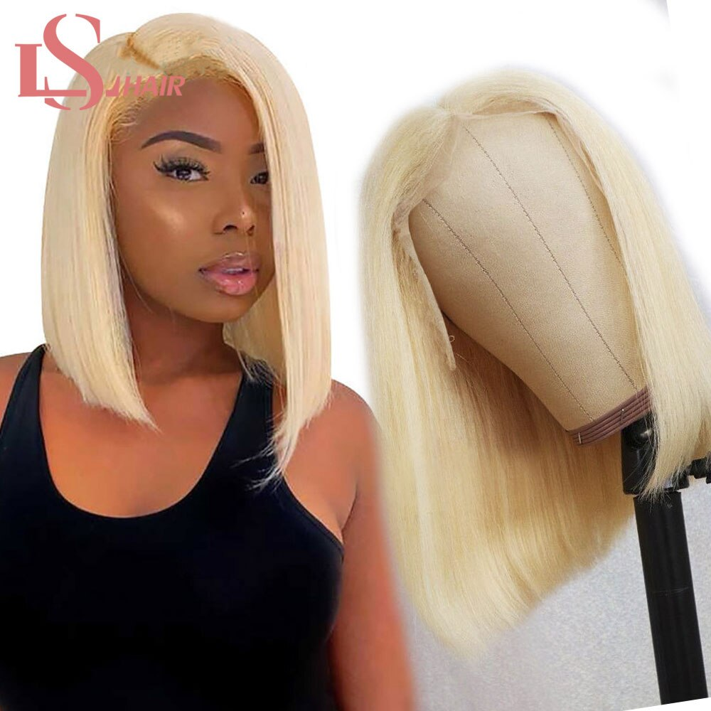 LS 13*4 613 Blonde Brazilian Straight Human Hair Bob Wigs 8 - 16 Inch Remy Short Ombre Bob Lace Front Wigs for Black Women