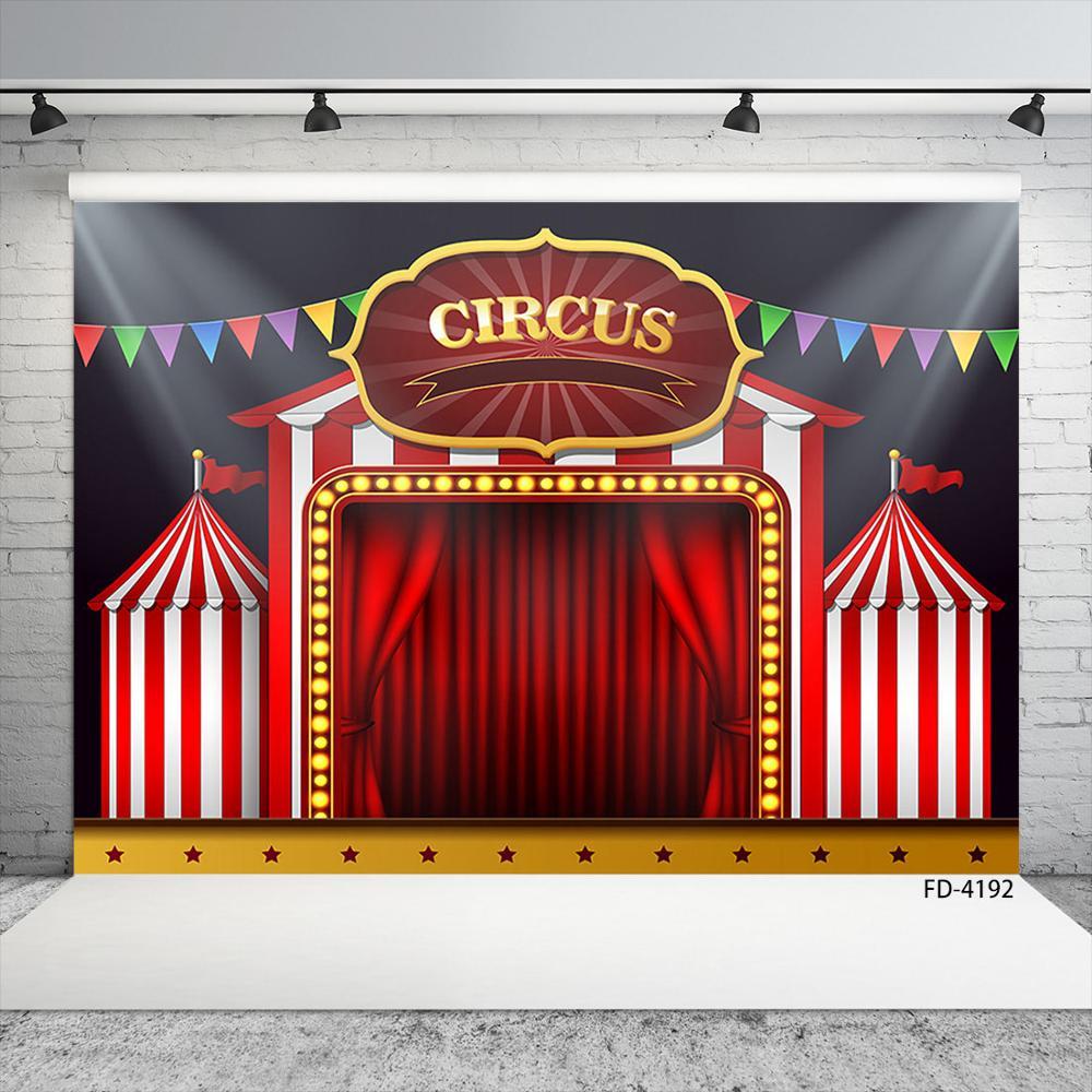 Banderín de Carnaval Circo, fondos de fotografía con cortina roja, paño de vinilo, Baby Shower Photophone telón de fondo para niños, accesorios de fotografía