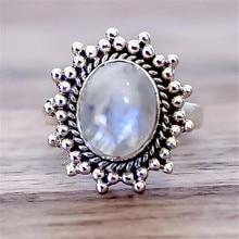 Joyería de playa de verano, anillos ovalados de piedra lunar Natural para mujer, joyería de boda, regalo jz471