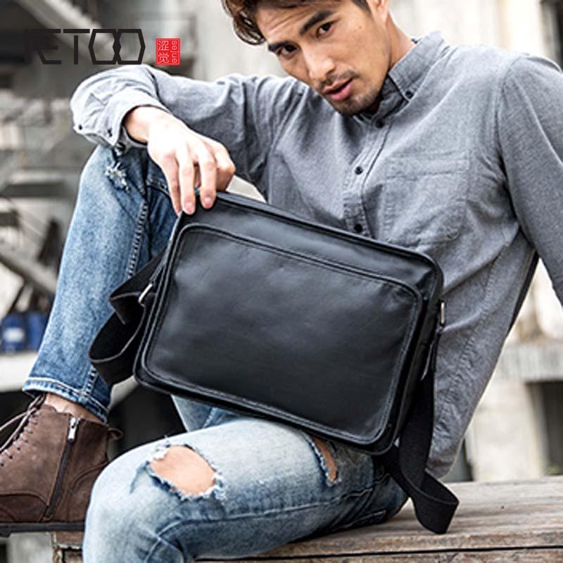 AETOO Original leather mens bag shoulder trend new Messenger simple first layer casual messenger