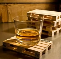 4pcssets rectangle mini wooden pallet coaster set whiskey wine glass cup mat pad hot cold drink wood table mat bar tool sn2116