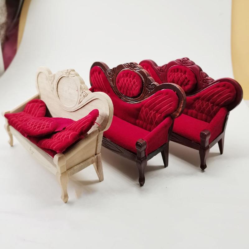 Декор для кукольного домика 1:12, миниатюрная мебель, деревянный диван, украшение, аксессуары для кукольного домика, имитация игрушек