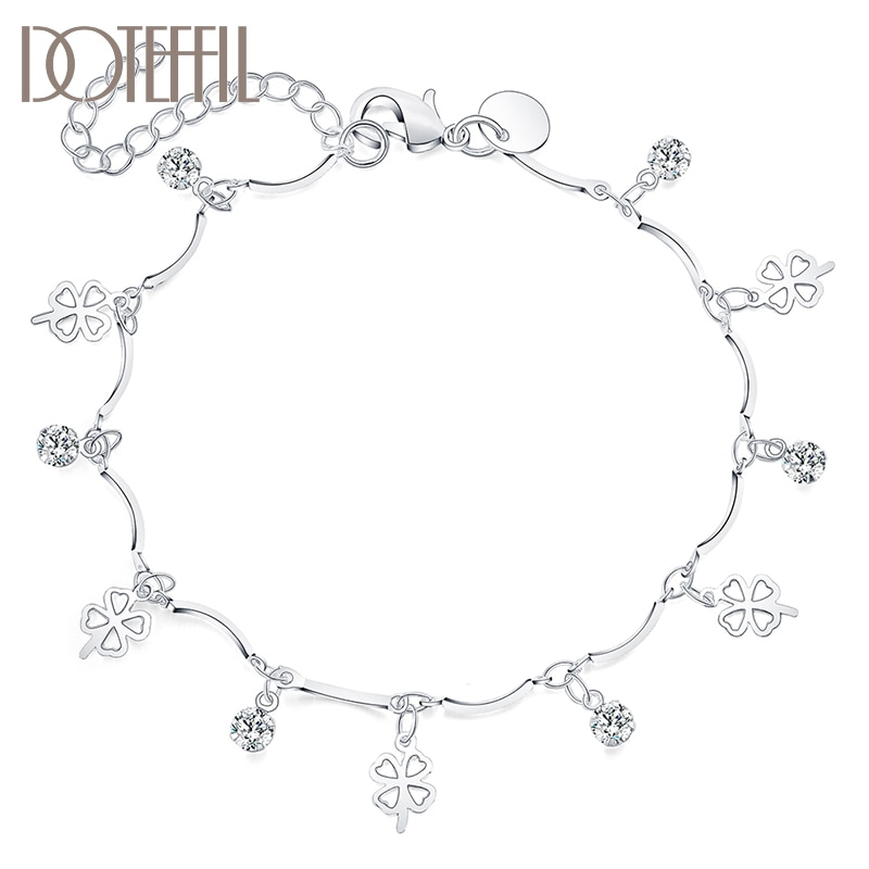 DOTEFFIL 925 Sterling Silver AAA Zircon Clover Bracelet For Women Fashion Wedding Engagement Party Charm Jewelry doteffil 925 sterling silver butterfly aaa zircon bracelet for women fashion wedding engagement party charm jewelry