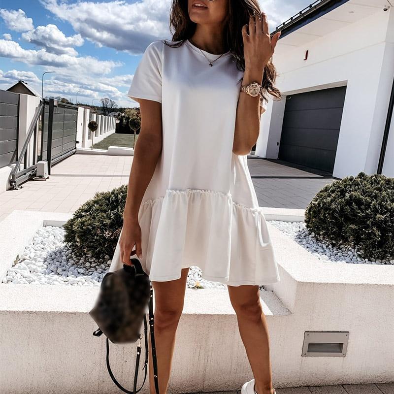 NEDEINS Summer Women Mini Dress Fashion Solid White Dresses  Female Short Dresses 2020 Casual O Neck Short Sleeve Lady Vestidos