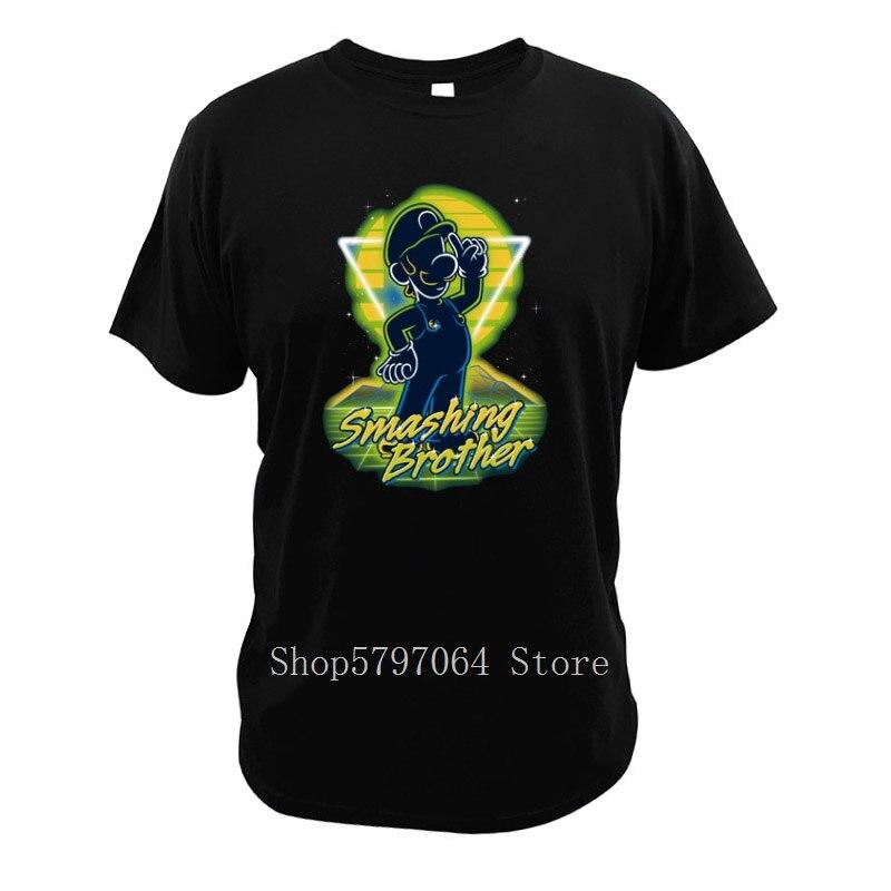 Luigi Super Mario Bros Retro Smashing Brother T Shirt Digital Casual Size 3XL Print O-Neck Short Sleeve