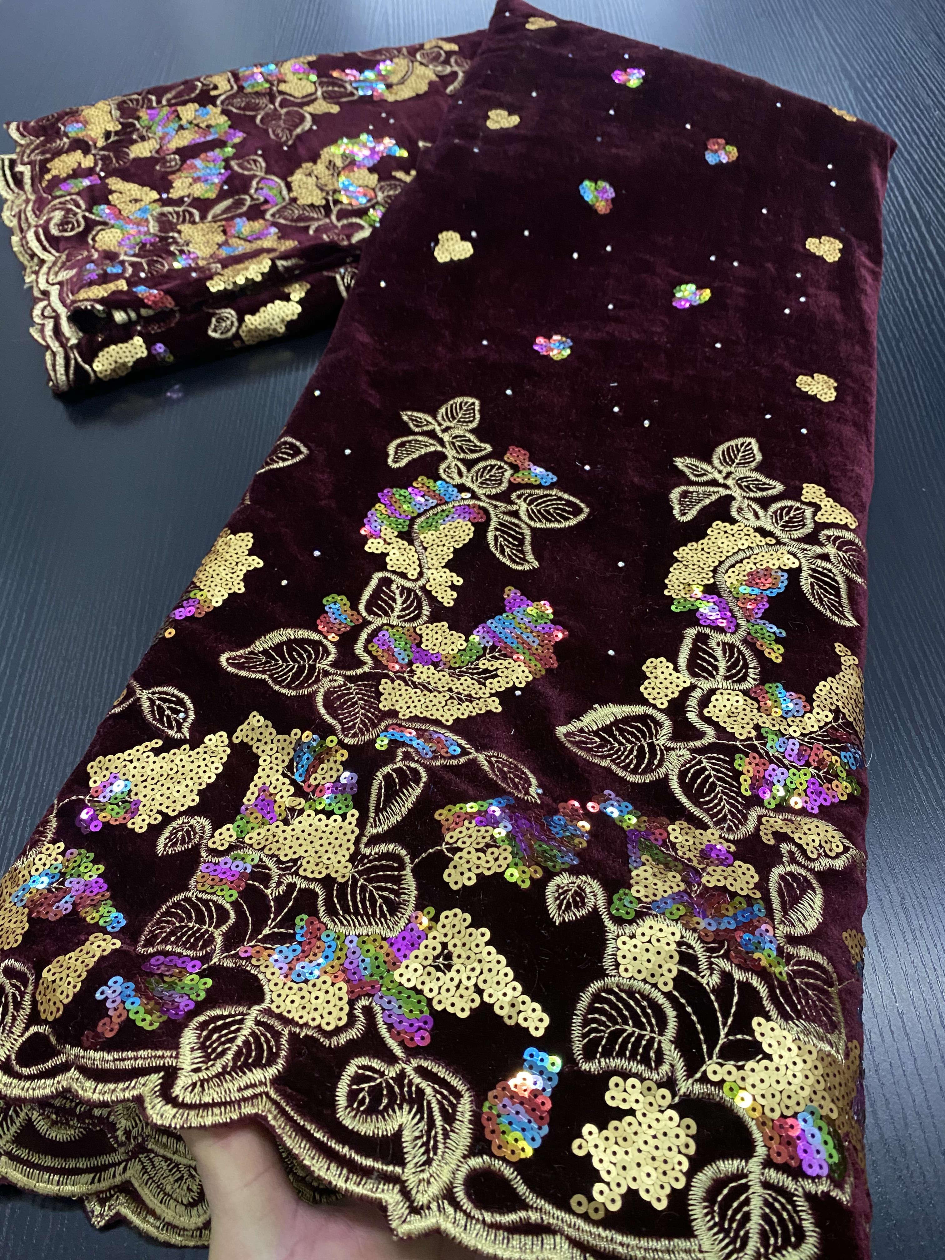 Nigeryjczyk aksamitne koronki tkaniny 2020 wysokiej jakości koronki afryki koronki tkaniny ślubne francuski koronki materiał do szycia sukni YA3386B-2