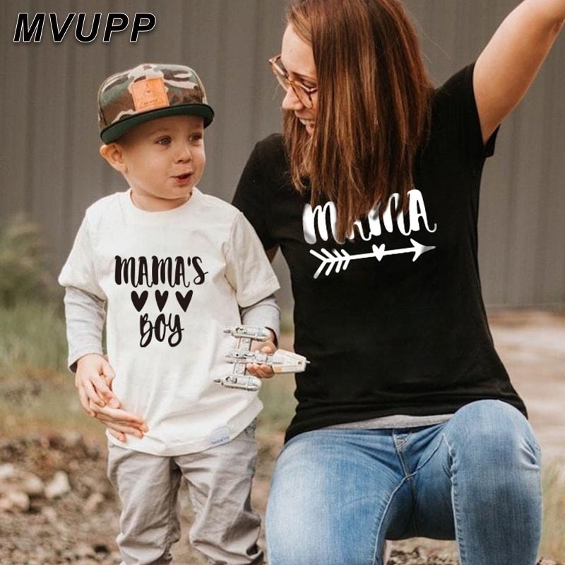 summer family matching short t shirt mommy and son look print letters mama boys clothes fashion t shirt litte baby kids outfits