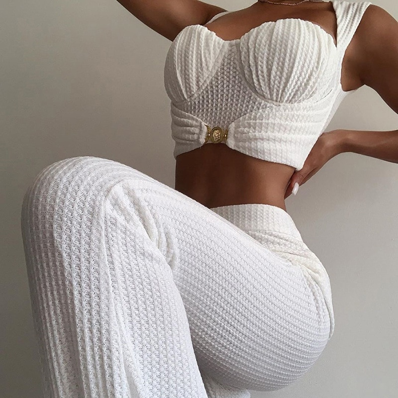 European and American style 2021 spring and autumn women's new sexy slim vest high waist hip wide le
