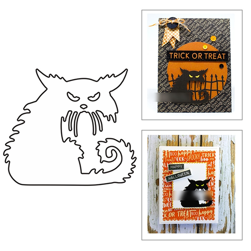 2021 New Halloween animal Black Cat Metal Cutting Dies For DIY Craft Making Paper Greeting Card Scrapbooking No Clear Stamps Set