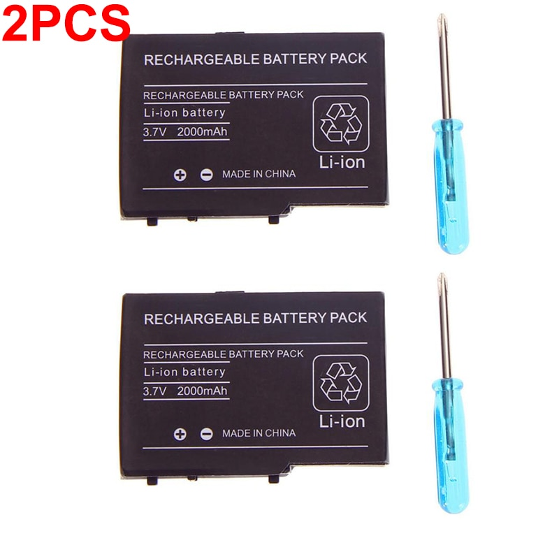 2pcs 2000mAh 3.7V Rechargeable Lithium-ion Battery Pack for Nintendo NDS DS Lite NDSL DSL Replacement Battery with screwdriver недорого