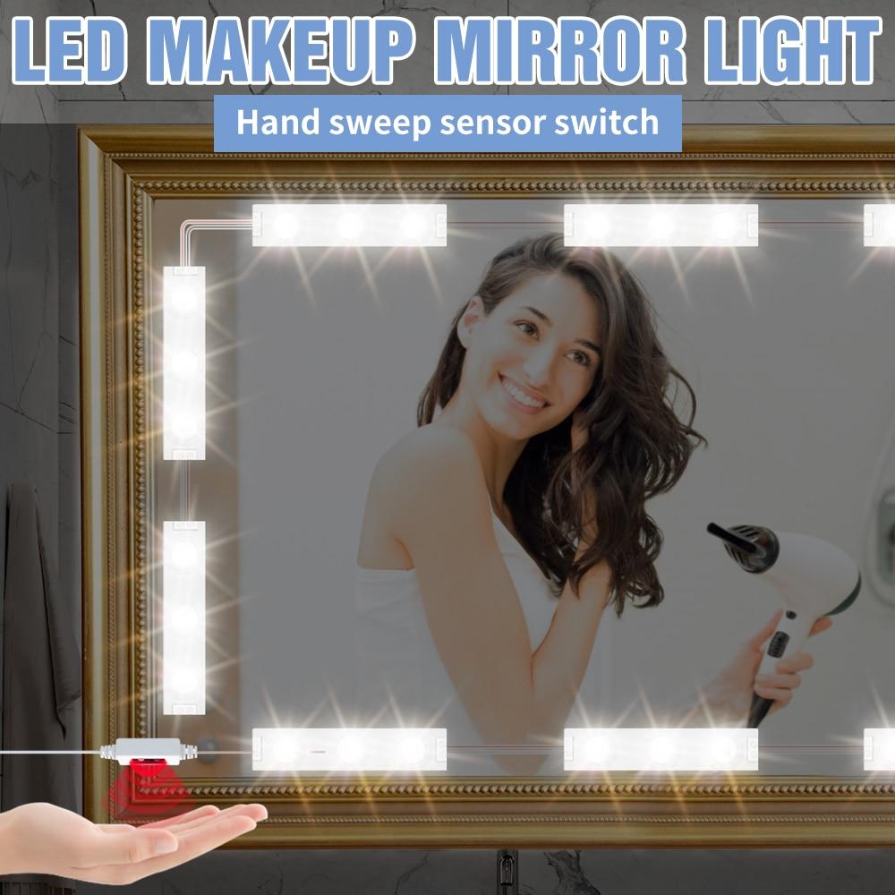 5V Makeup Lamp Kit USB Vanity Table Hand Sweep Sensor Mirror Light LED Dimmable Wall Lamp 2 6 10 14 Modules Bedroom Make up Lamp