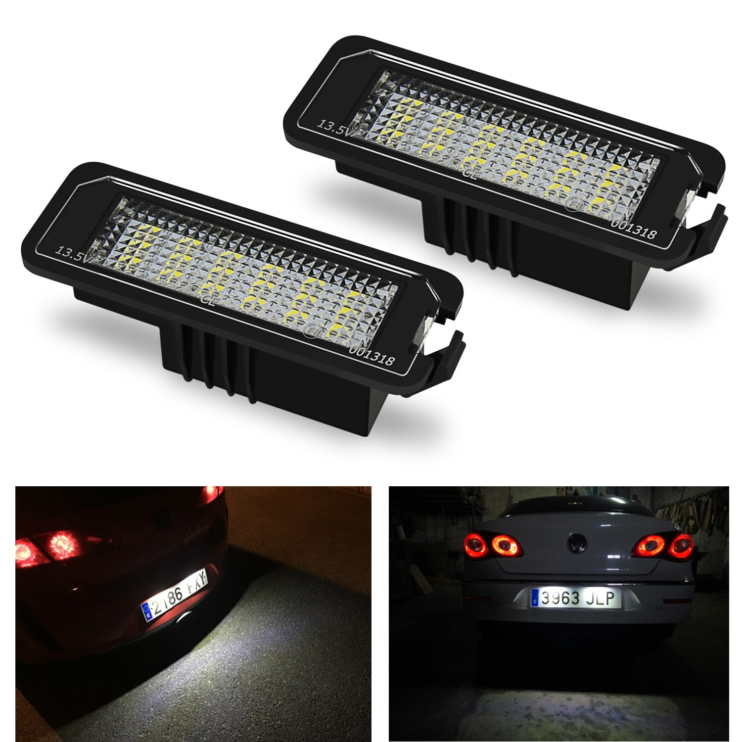 2x Number License Plate Light Lamp No Error 18SMD LED 12V 6500k White for VW Golf MK4 MK5 MK6 Passat