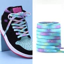 Lacci piatti Unisex Sneakers colorate in tela con stampa sfumata arcobaleno lacci per scarpe lacci per scarpe lacci per stivali corda per scarpe da ginnastica Casual in pizzo