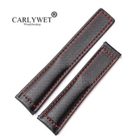 rolamy 20 22mm wholesale black with red stitches high quality genuine leather replacement watch band strap belt for tag heuer