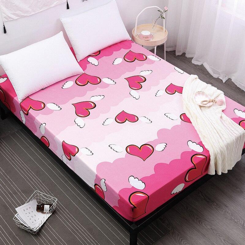 Corazón amoroso sábana bajera para adultos niños con banda elástica Funda de colchón Protector de cama ropa de cama Textiles para el hogar Venta caliente