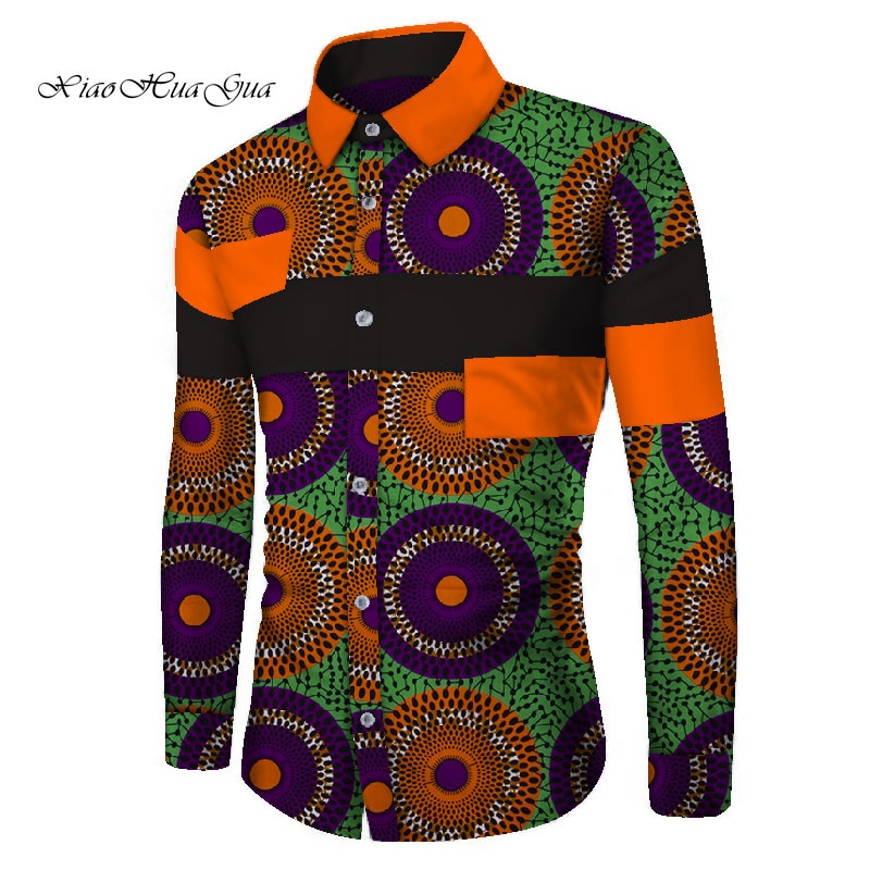 قميص رجالي أفريقي بأكمام طويلة ، قميص غير رسمي عصري بطباعة أفريقية ، WYN657