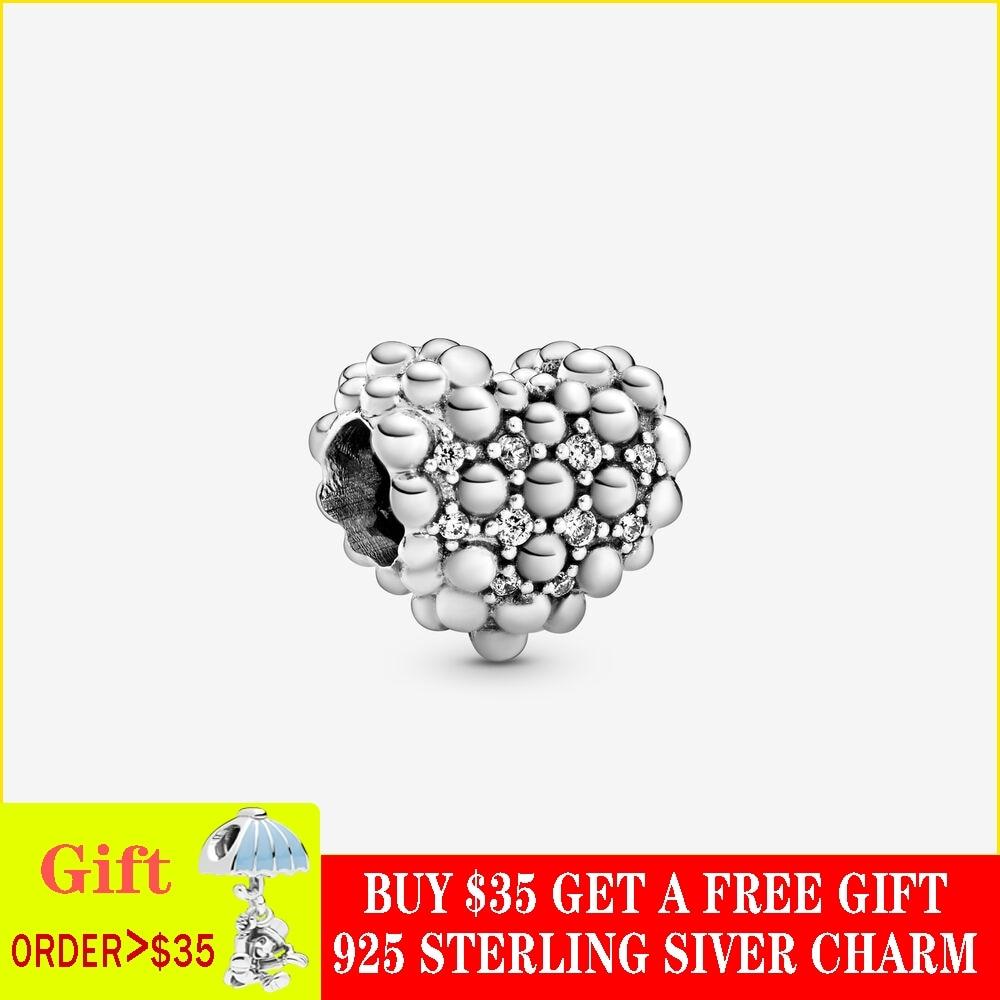 100% de San Valentín 2020 cuentas de plata de ley S925 brillantes dije de corazón cabe en pulseras originales de Pandora joyería de bricolaje para mujer