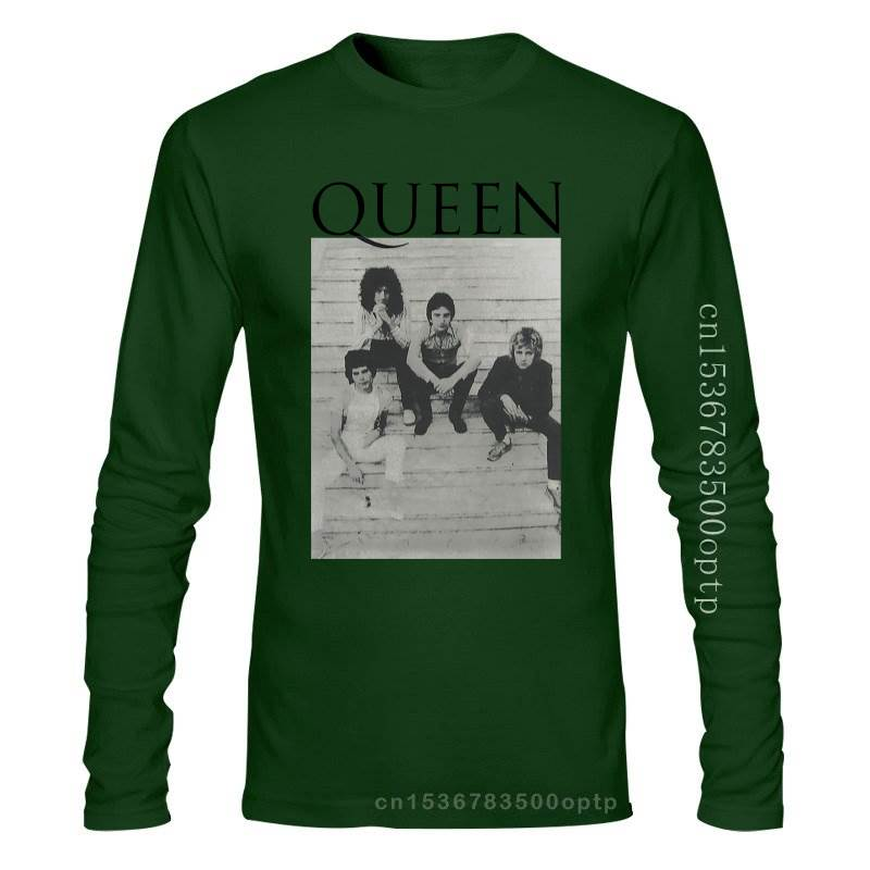 New Queen Stairs Band Pic Image White T Shirt 2021 Official Band Merch Freddie Sleeves Boy Cotton Men T-Shirt Top Tee