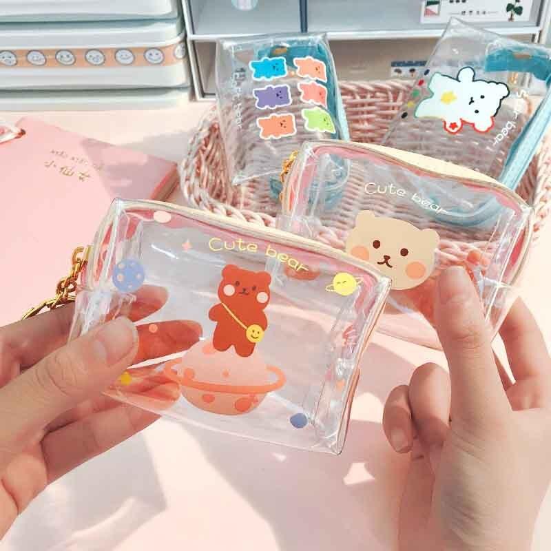 Creative Bears transparente Girls monedero niños PVC bolso con cremallera mujeres Mini Cartera de lápiz de labios Flamingos bolso de la tarjeta llave