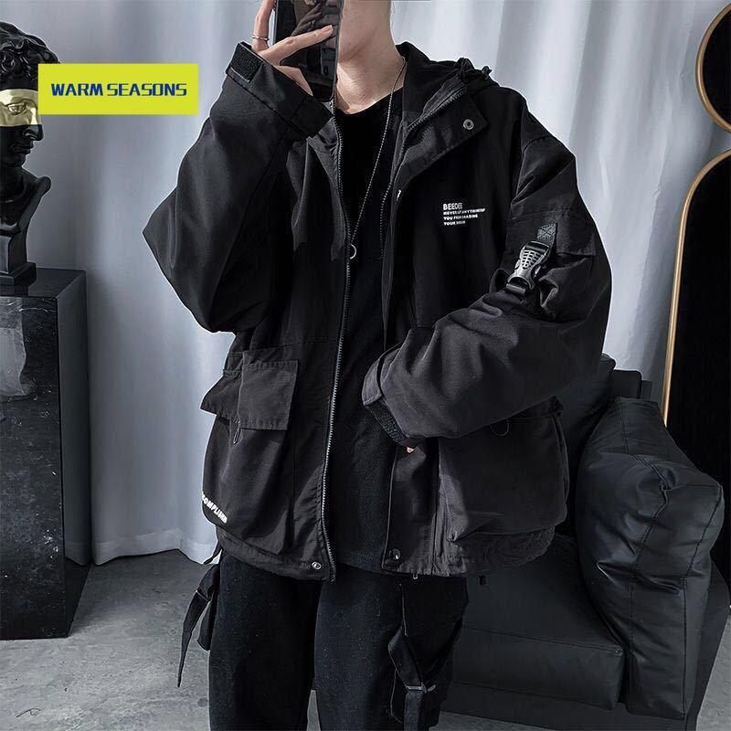 Tactical Hip Hop Cargo Techwear Jackets Coats Streetwear Cardigan Casual Bomber Outerwear Hooded Letter Multi-pocket for Men