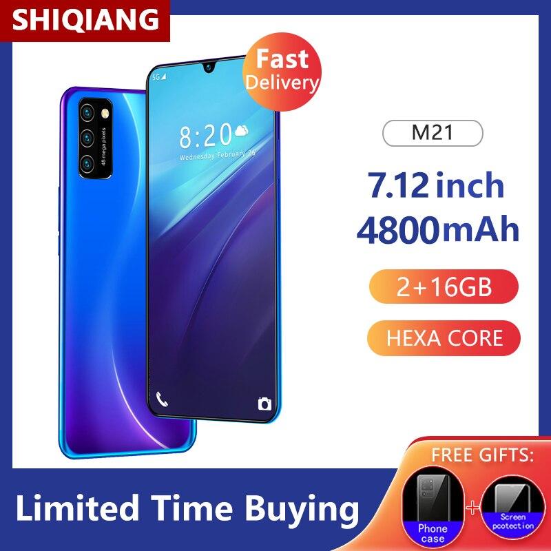 Smartphone+M21%2C+Version+globale%2C+t%C3%A9l%C3%A9phone+portable%2C+%C3%A9cran+de+7.12+pouces%2C+4800mAh%2C+2+go+%2B+16+go%2C+goutte+d%27eau%2C+reconnaissance+faciale%2C+d%C3%A9bloqu%C3%A9