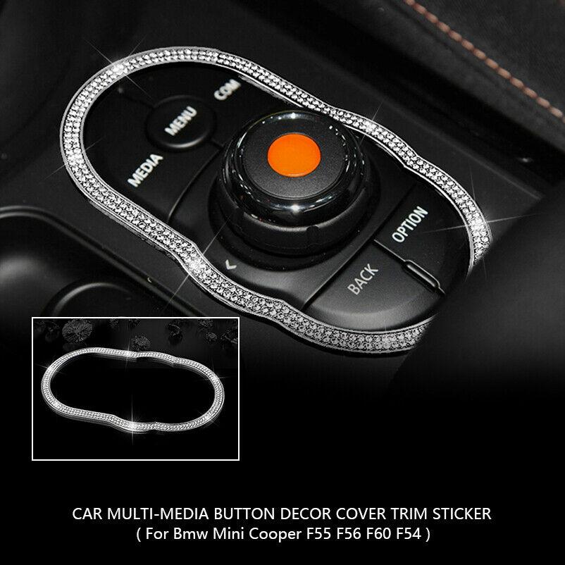Diamante brillante Multi-media botón pegatina cubierta embellecedor para Mini Cooper F55 F56 F60 F54